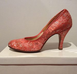 A stunning pair of vintage 1950s shoes in pink and silver
