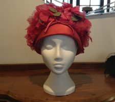 Beautiful Vintage 1960s Red Floral Hat